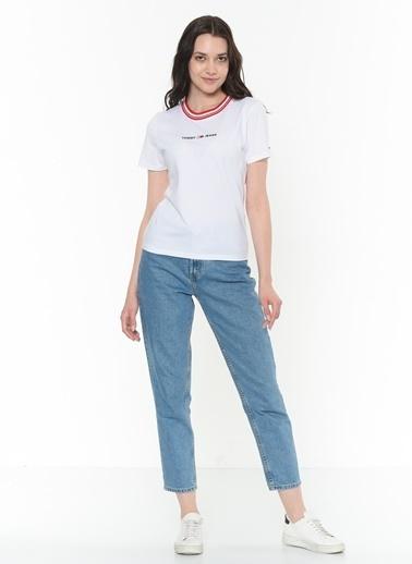 Tommy Hilfiger Kadın Tjw Contrast Rib Logo Tişört DW0DW08057 Beyaz